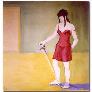 Frau mit Schwert - Acryl auf Leinwand 100 x 100 cm