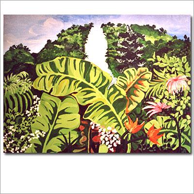 Dschungel und Wasserfall - Acryl auf Leinwnad 120 x 90 cm