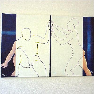 Paar - Acryl auf Leinwnad 2x 70 x 90 cm